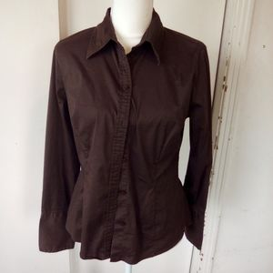 H & M brown blouse size 12